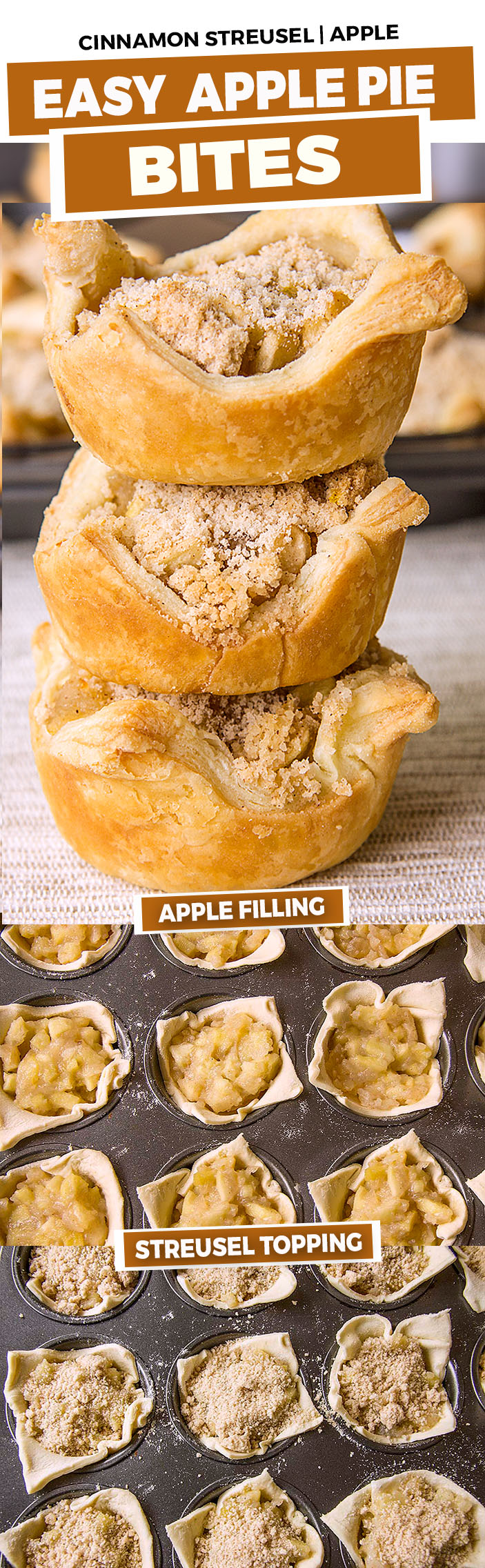 Delicious apple pie bites prepared with crescent rolls, apple pie filling and cinnamon streusel . An easy dessert in under 30 minutes!