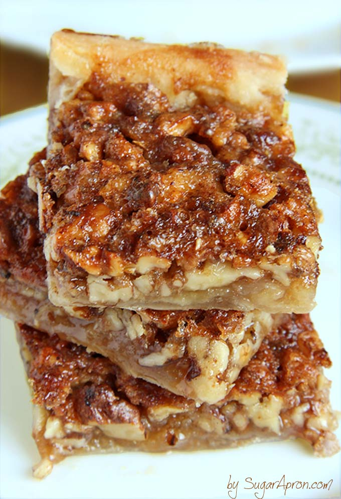 Pecan pie in a bite size bar! Crescent roll dough makes this pecan bar ...