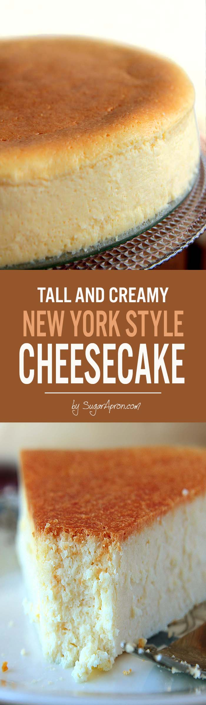 New York Style Cheesecake – Tall, creamy, thick, smooth and it slices beautifully. And more as you may have noticed there is No CRACKS....Absolutely Perfect !!