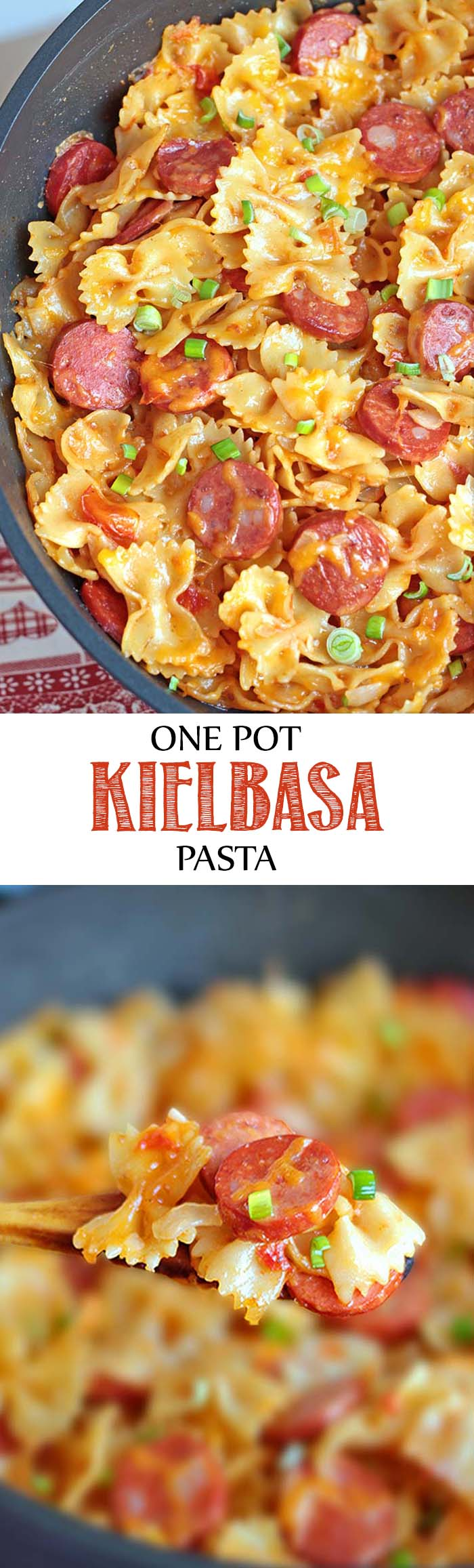 It's a cheesy pasta dish with Kielbasa sausage and garnished with chopped scallions. Enjoy! #pasta #onepot #kielbasa #dinner