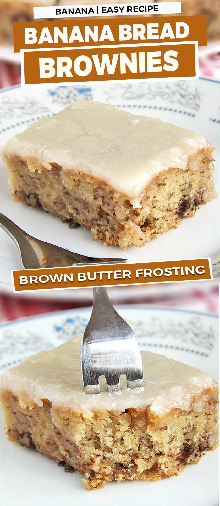 The sweet taste of banana bread brownies topped with a brown butter frosting.