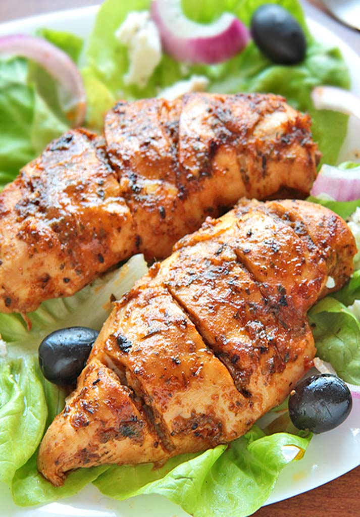Fresh chicken breast, marinated with greek blended spices and baked to perfection.