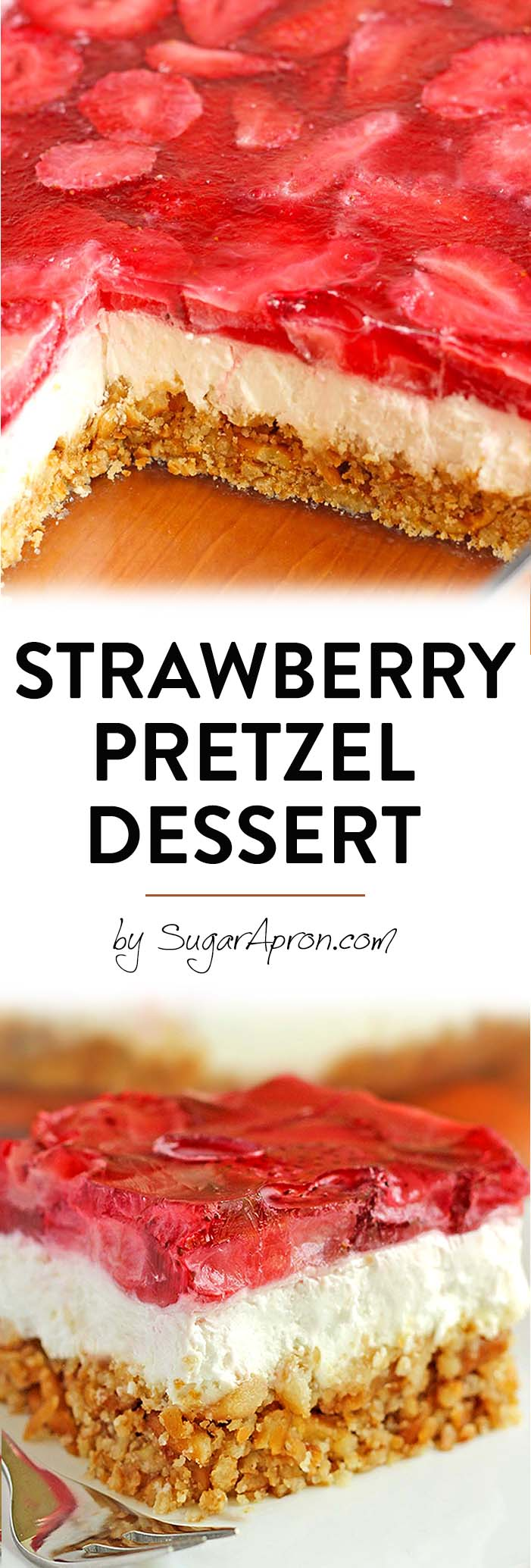 Strawberry Pretzel Dessert just begging you to make it for your next summer picnic or bbq to serve.
