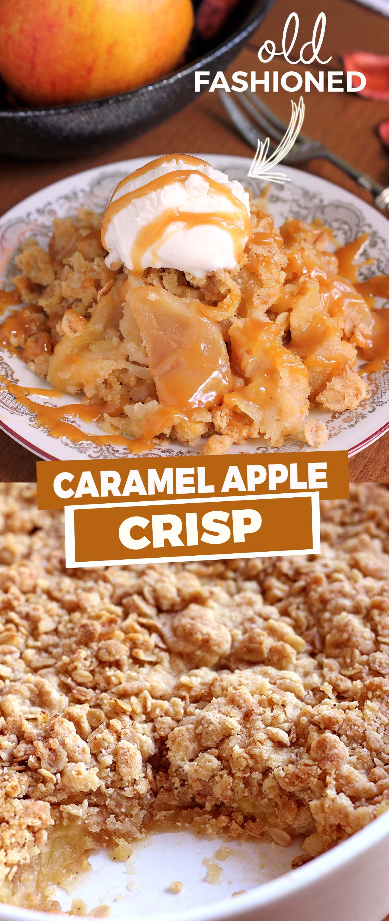 A true classic Fall dessert, this easy apple crisp is made the old fashioned way like Grandma used to make.