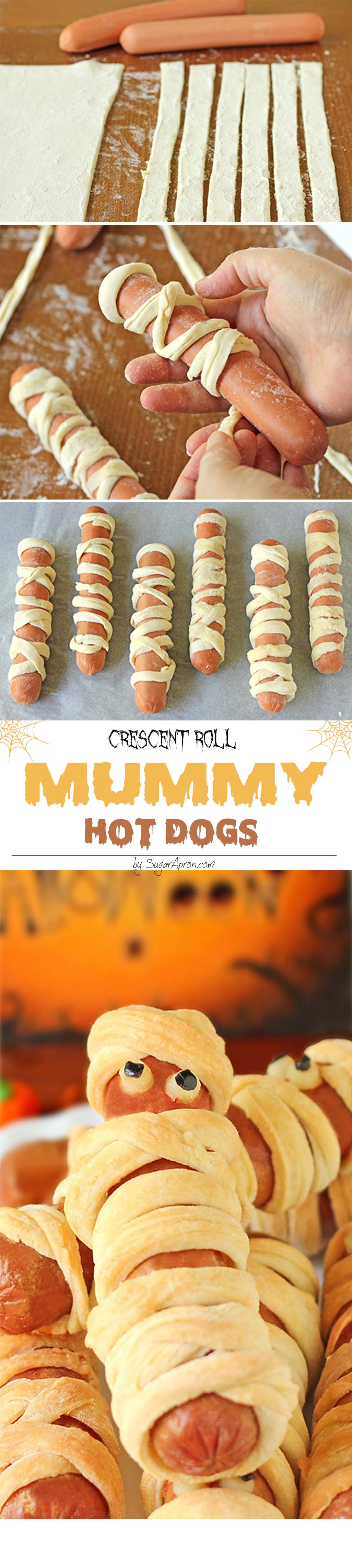 Crescent Roll Mummy Hot Dogs - Aren't they scary sweet?
