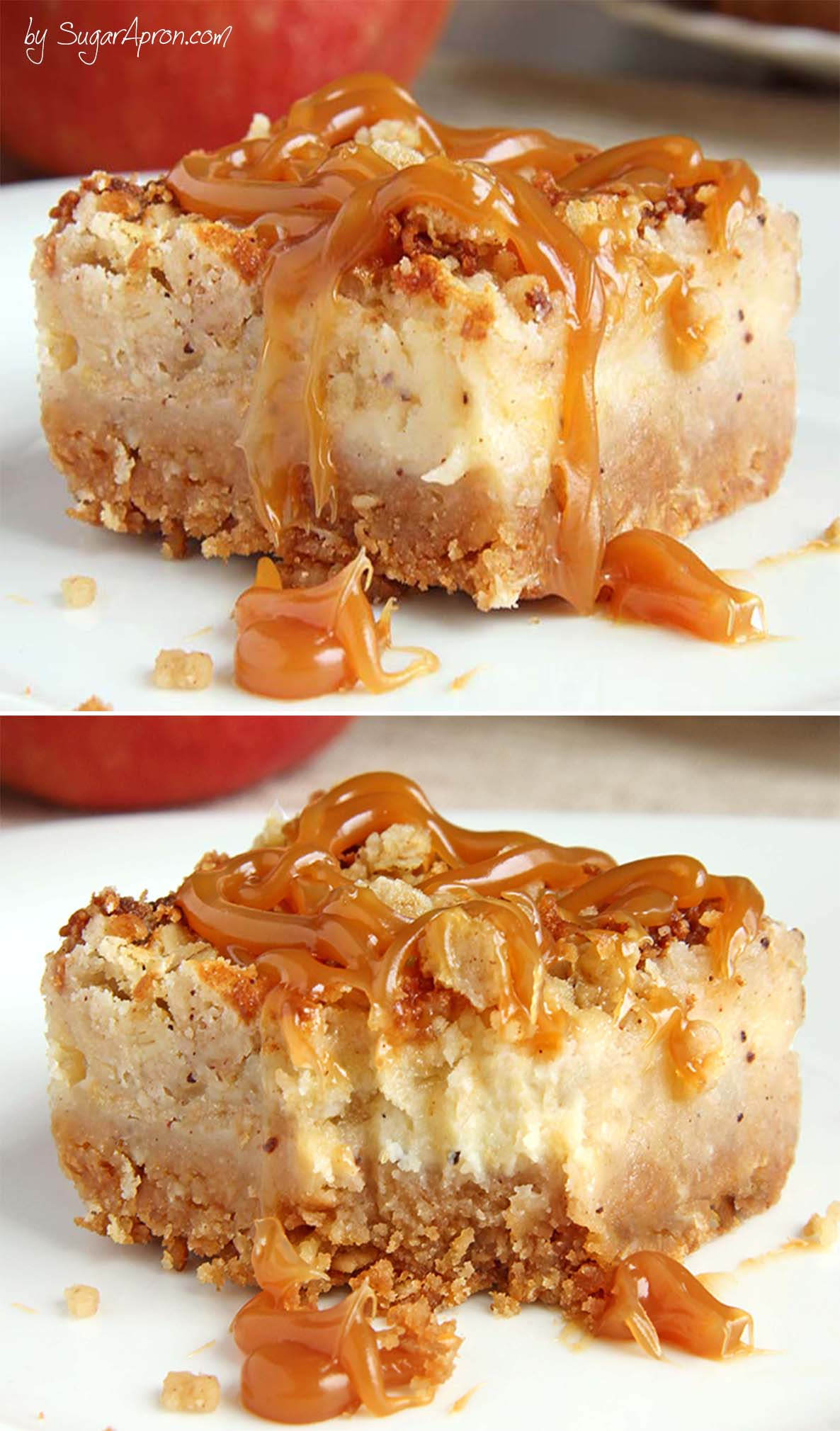 These Caramel Apple Crisp Cheesecake Bars Are Ideal Choice In The Autumn Season But Also
