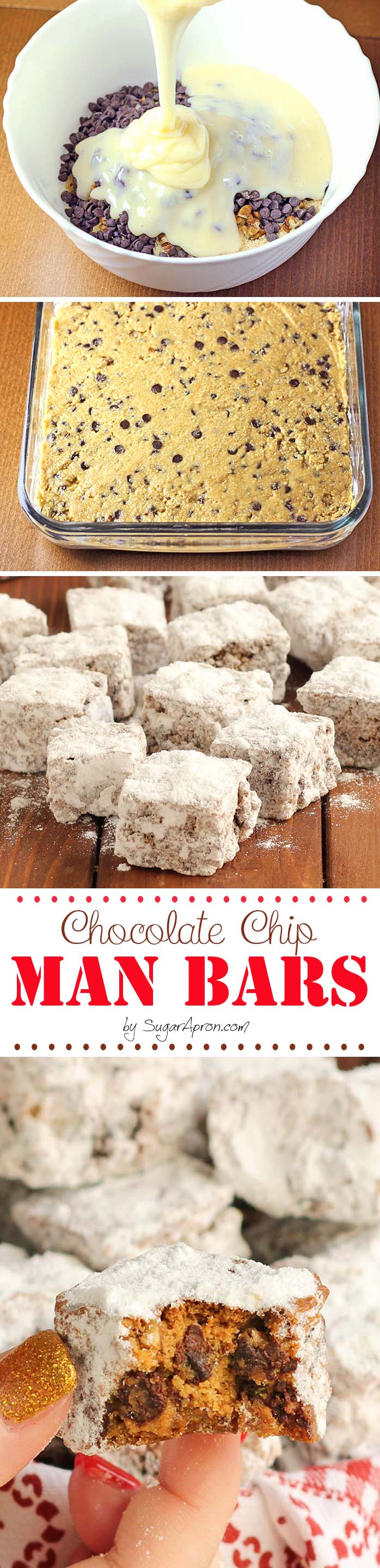 These bars are the easiest things to make EVER. One bowl – mix, bake and toss in icing sugar.