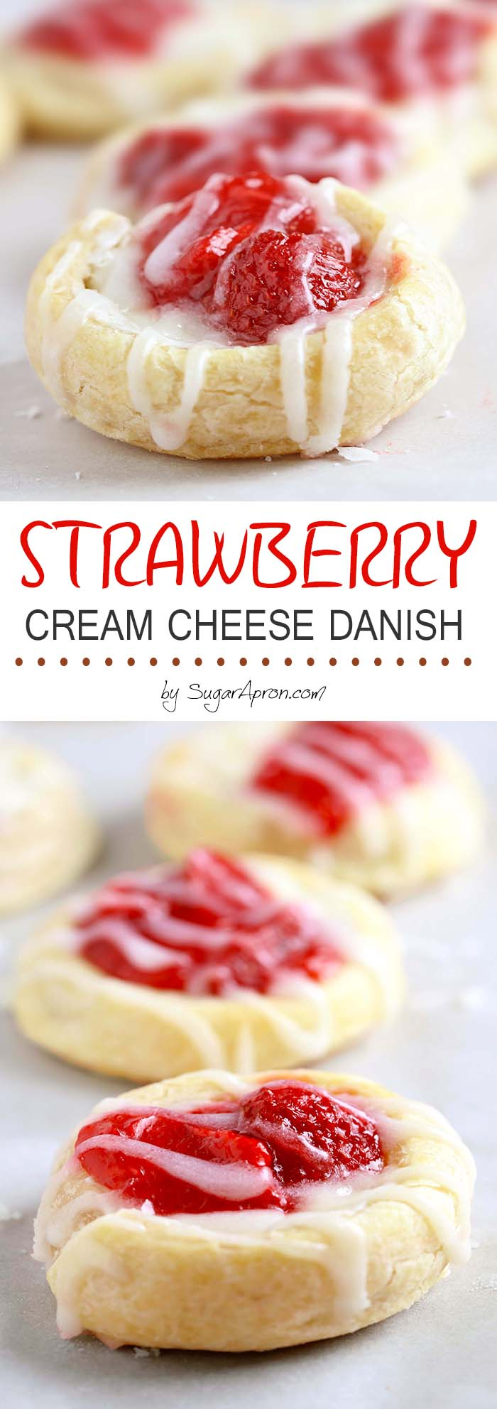 Who can resist flaky crescent rolls combined with a sweet cream cheese and strawberry filling? These strawberry cream cheese danish are so addictive!
