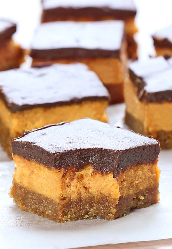 Chocolate Pumpkin Cheesecake Bars Sugar Apron