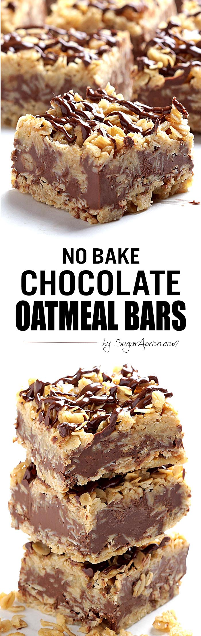 No Bake Chocolate Oatmeal Bars - Sugar Apron
