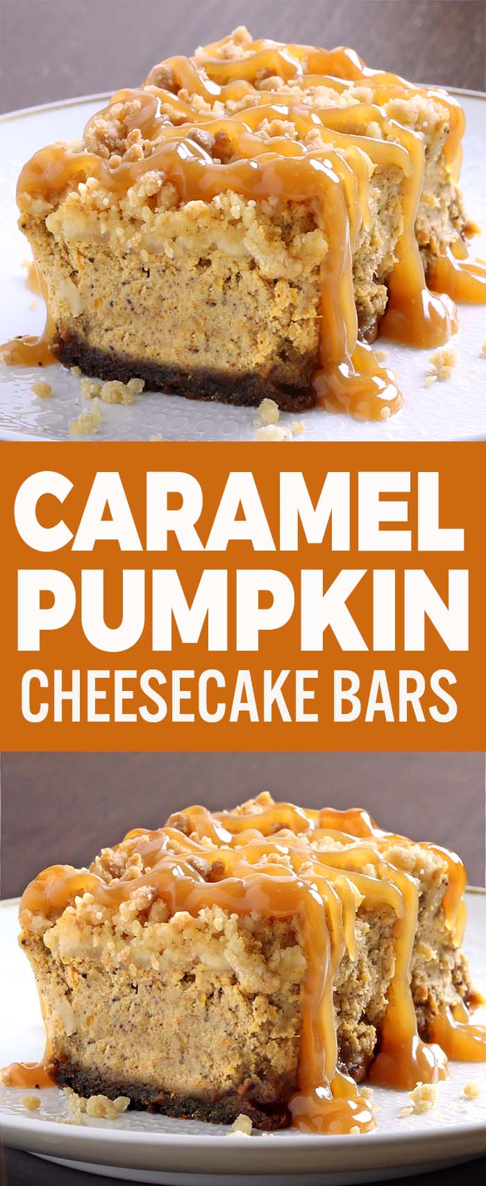 Creamy, rich pumpkin cheesecake with chewy gingersnap crust, topped with crumbly, buttery streusel and drizzled with caramel make these CARAMEL PUMPKIN CHEESECAKE BARS out-of-this-world delicious!