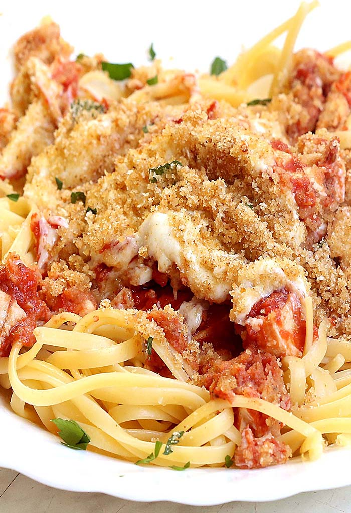 A make-ahead  Chicken Parmesan Casserole is an easy weeknight meal, perfect for just about any occasion.