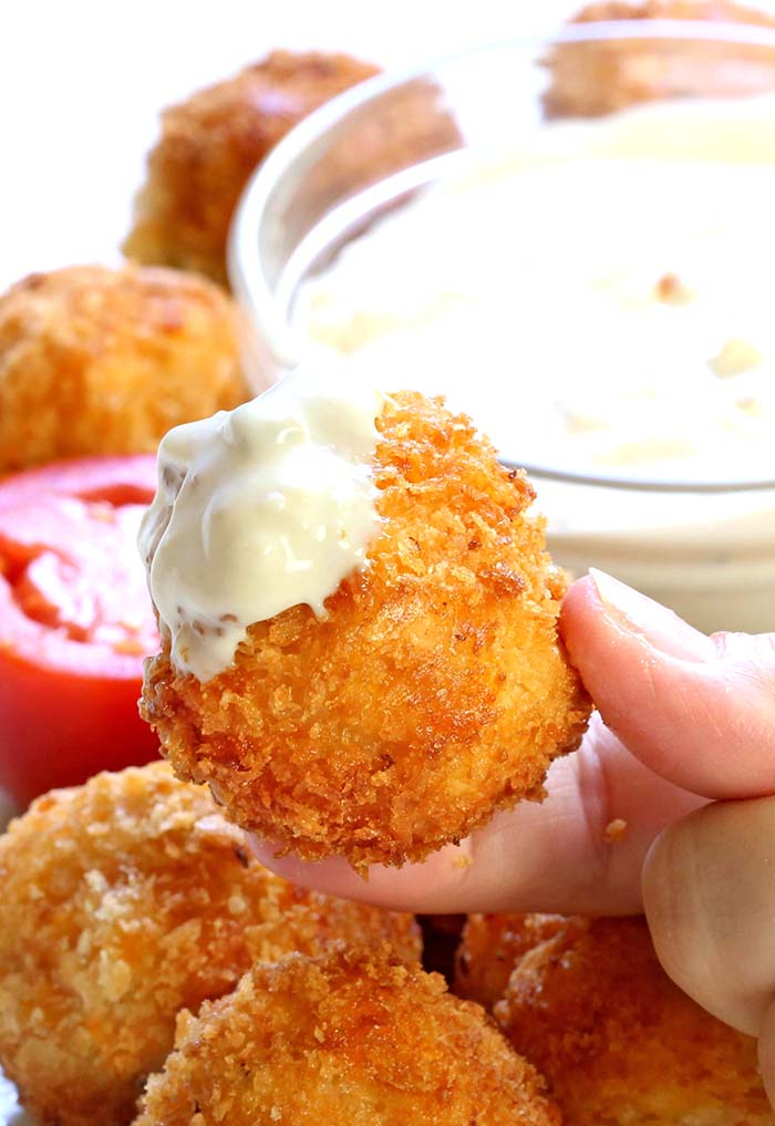 All the flavor of Buffalo chicken dip rolled into a ball, breaded and deep fried.