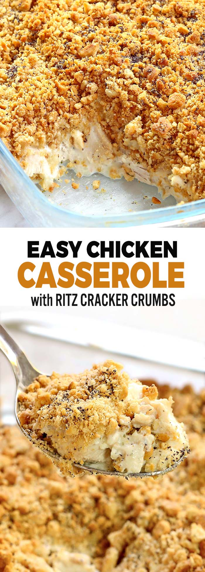 Easy Chicken Casserole – A creamy and easy dinner that your whole family will love. All you need are 6 simple pantry ingredients a few minutes and you are ready to go.