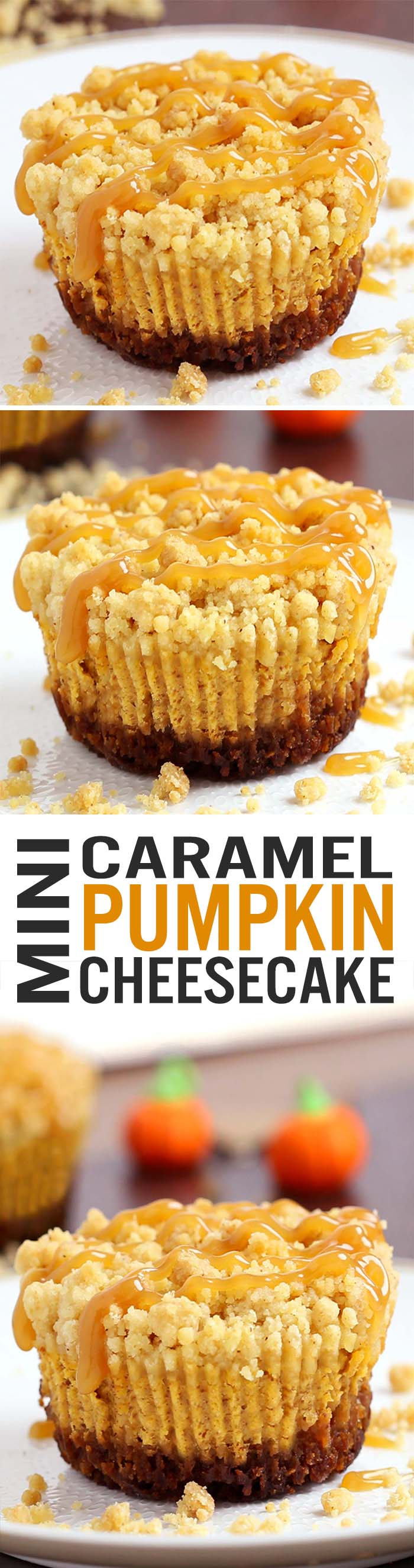 Caramel Pumpkin Mini Cheesecakes with Streusel Topping  are what pumpkin dessert dreams are made of! A irresistible gingersnap cookie crust with a rich, smooth, creamy pumpkin cheesecake filling, topped with crunchy, sweet, buttery streusel and caramel sauce.