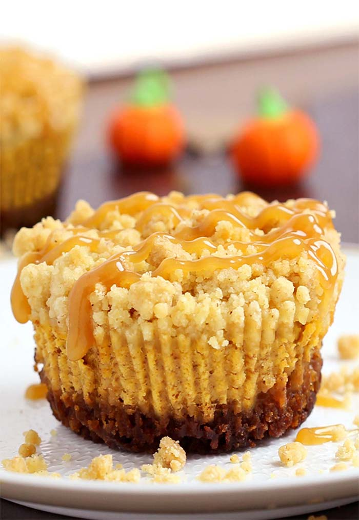 Caramel Pumpkin Mini Cheesecakeswith Streusel Toppingare what pumpkin dessert dreams are made of! A irresistible gingersnap cookie crust with a rich, smooth, creamy pumpkin cheesecake filling, topped with crunchy, sweet, buttery streusel and caramel sauce.
