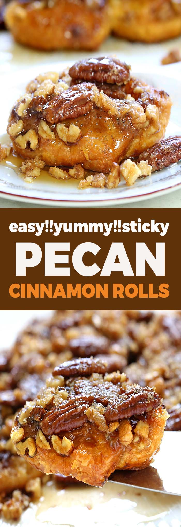 Caramel Pecan Cinnamon Rolls are made easier with refrigerated cinnamon rolls, and simple caramel sauce that goes into the bottom of your pan, along with pecans.