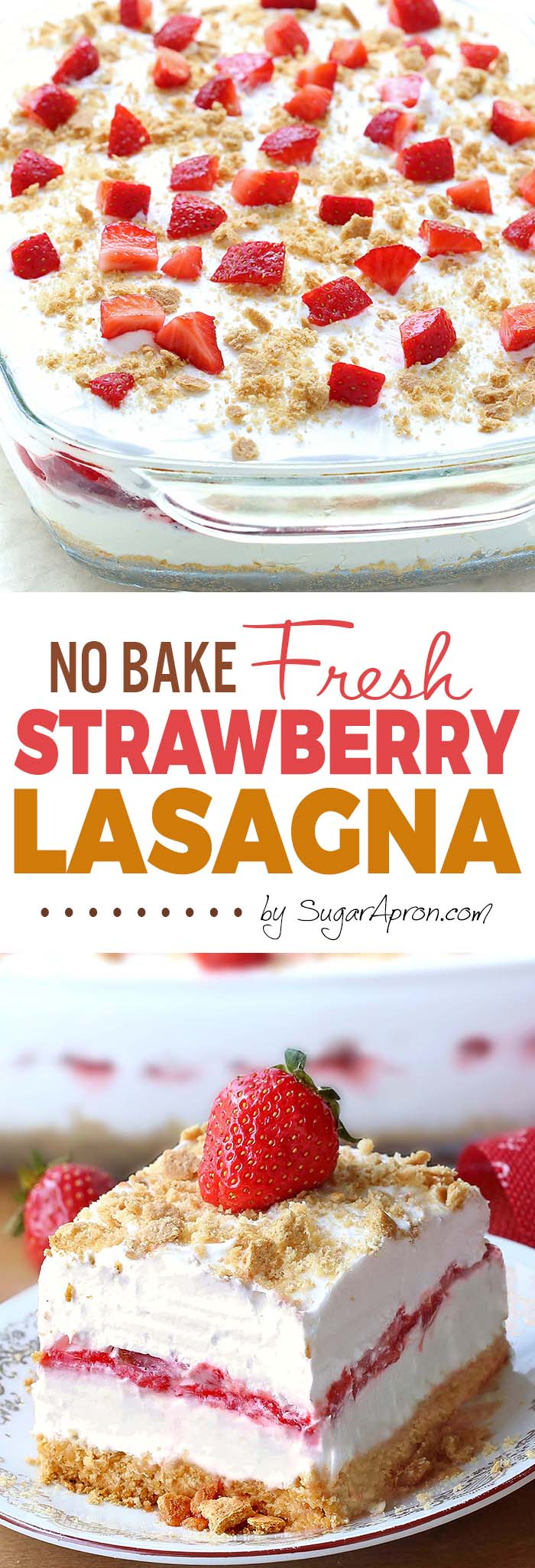 No Bake Strawberry Cheesecake Lasagna will make all Your Strawberries and Cream dreams come true. This is your ticket to becoming a backyard-barbecue legend, perfect for 4th of July or any other family get-togethers.