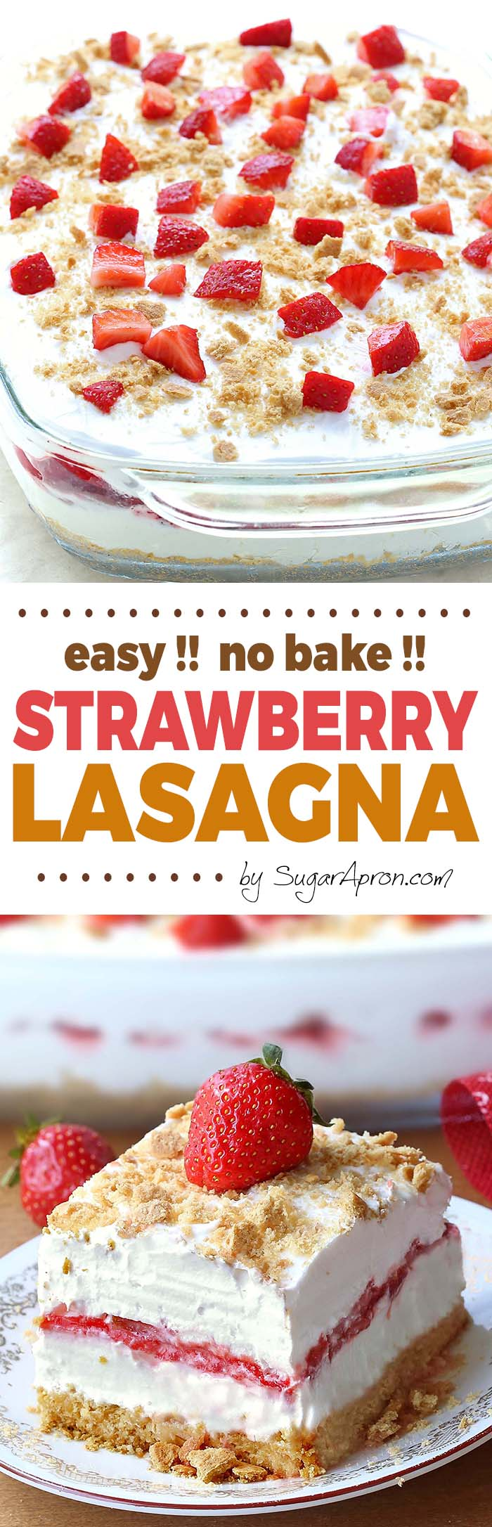 No Bake Strawberry Cheesecake Lasagna No Bake Strawberry Cheesecake Lasagna -a dessert lasagna with graham cracker crust, cream cheese filling, strawberries and cream topping, will make all Your Strawberries and Cream dreams come true. This is your ticket to becoming a backyard-barbecue legend, perfect for 4th of July or any other family get-togethers.