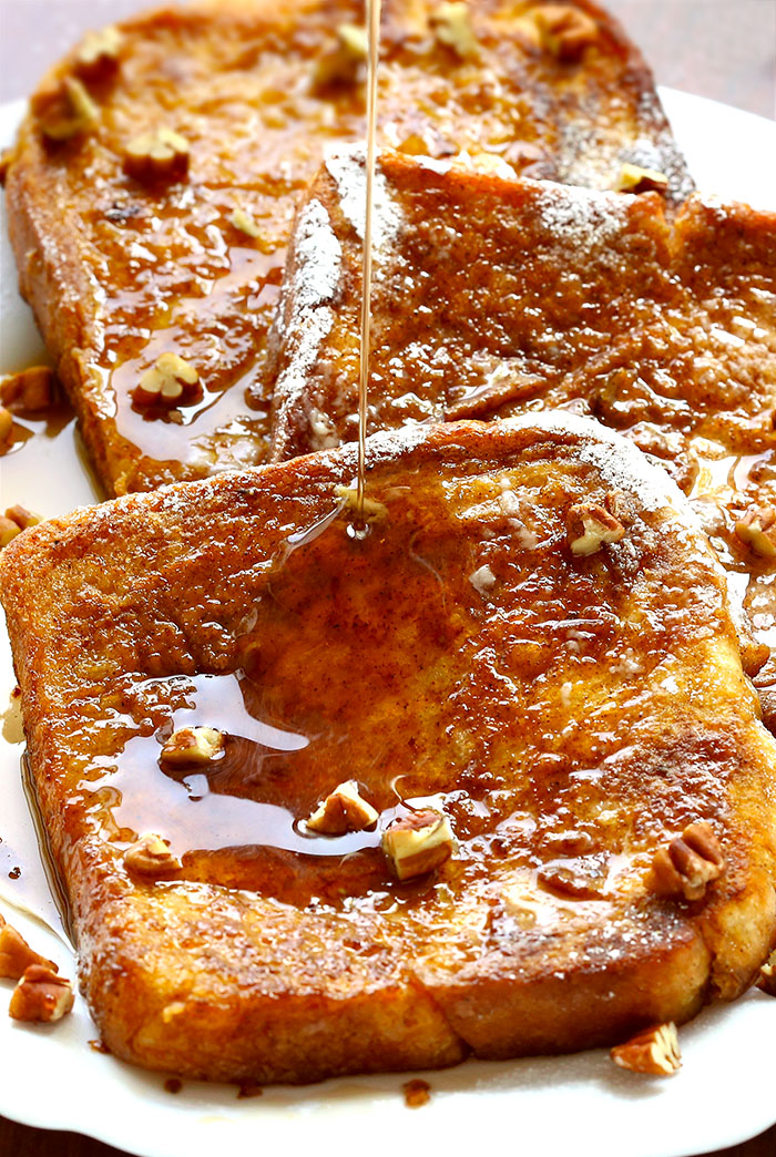 Pumpkin Pie French Toast -  All of the flavors of pumpkin pie in French toast form.