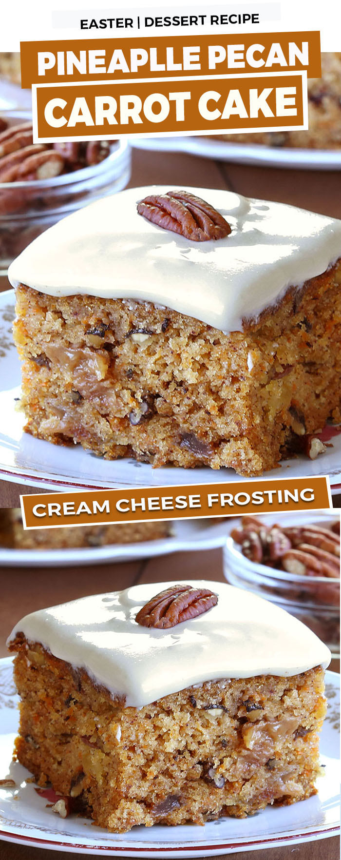 If you're looking for an easy, delicious Easter cake, this Pineapple Pecan Carrot Cake is everything you'd hope for