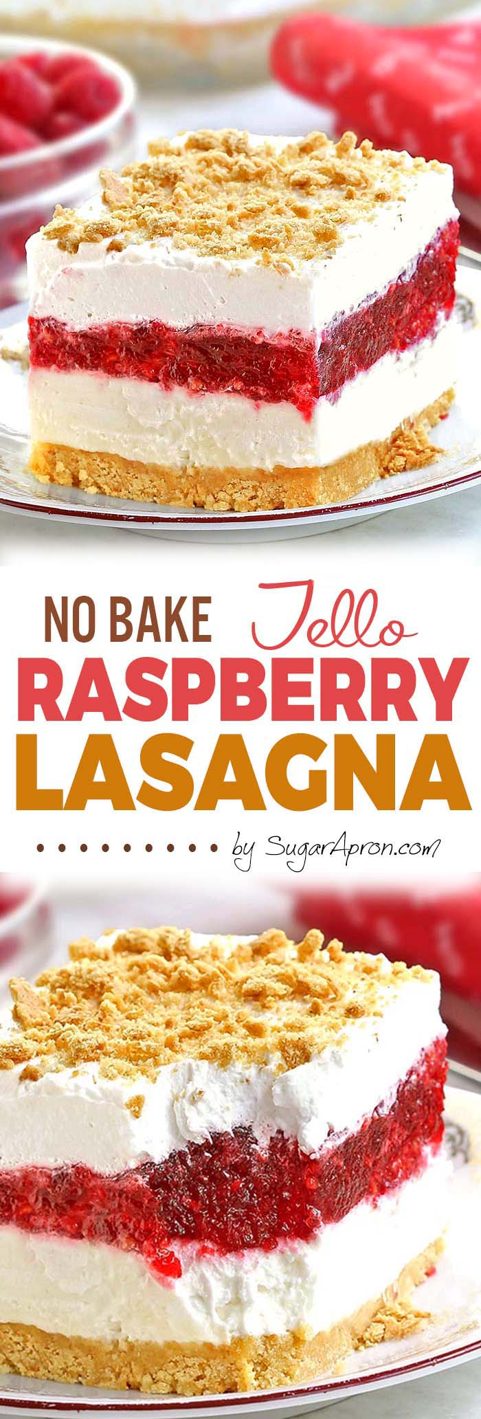 No Bake Raspberry Jello Lasagna - A light and easy dessert that is perfect for spring/summer gatherings.