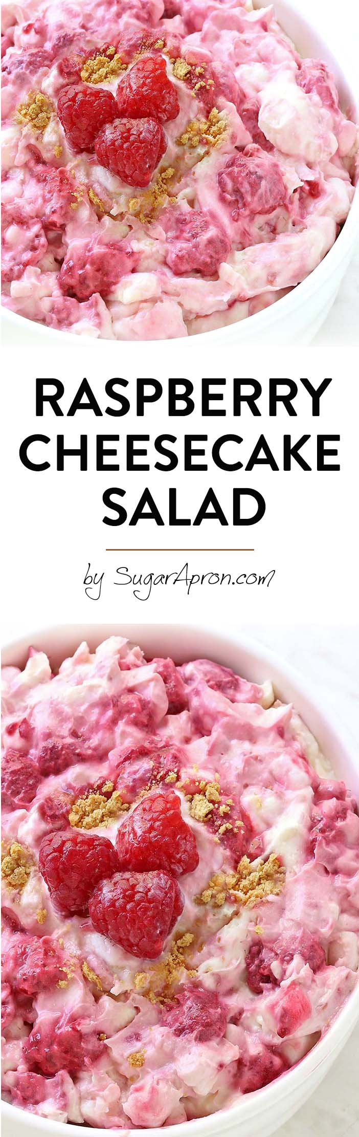 This isn't any old Fluff Salad recipe – it's a Raspberry Cheesecake Salad! This easy no-bake dessert salad is full of raspberries and graham crackers and is the perfect alternative to traditional fluff salad.