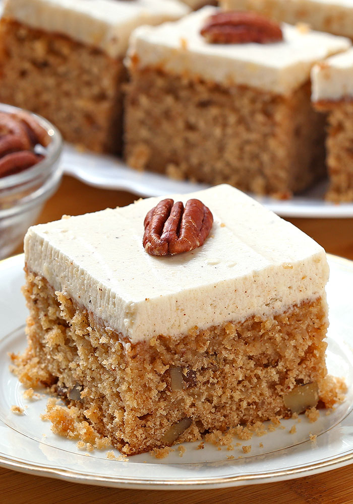 Applesauce Cake with Cinnamon Cream Cheese Frosting is simple recipe for sweet, tender and incredibly moist, homemade cake from scratch, with ingredients that you already have in pantry.
