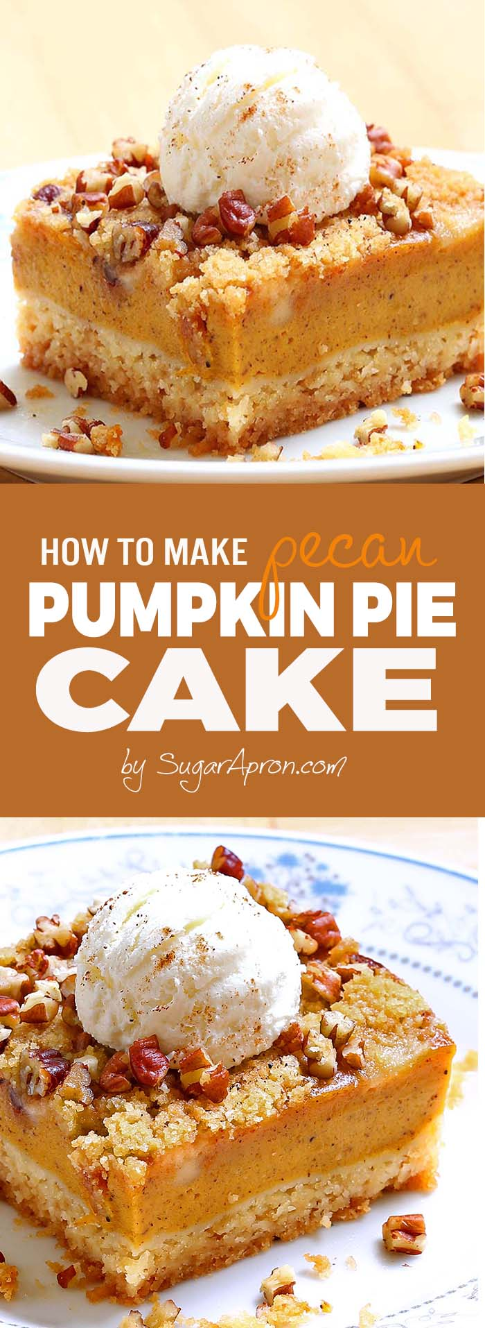 Pumpkin pie cake will be your new favorite pumpkin recipe! All the yummy flavors of a pumpkin pie but the heartiness of a cake.