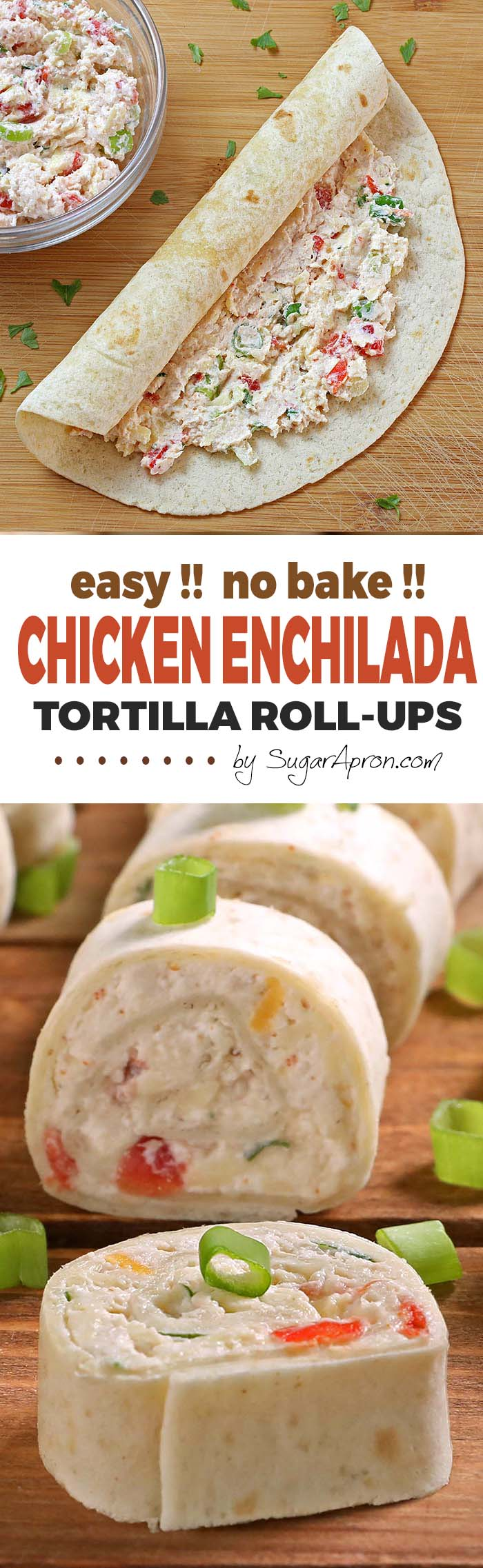 Chicken Enchilada Tortilla Roll Ups are a simple and fun bite sized spin on ever popular chicken enchiladas! A great appetizer recipe, easy to make ahead, easy to serve, perfect for game day party !