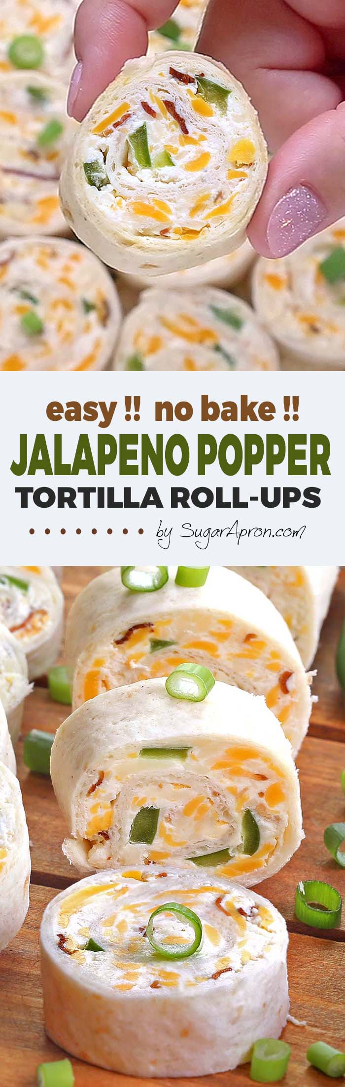 Jalapeno Popper Tortilla Roll Ups are a simple and fun bite sized spin on ever popular jalapeno poppers! Always a crowd pleaser, perfect for game day party.