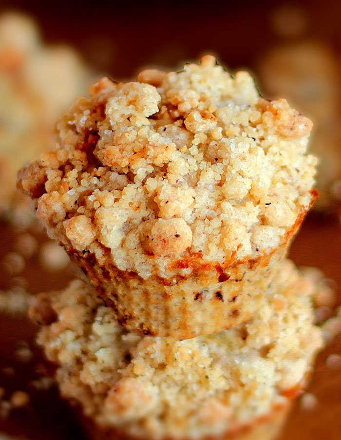 Moist and tender these Banana Crumb Muffins are loaded with banana flavor and topped with a crunchy cinnamon crumb topping!