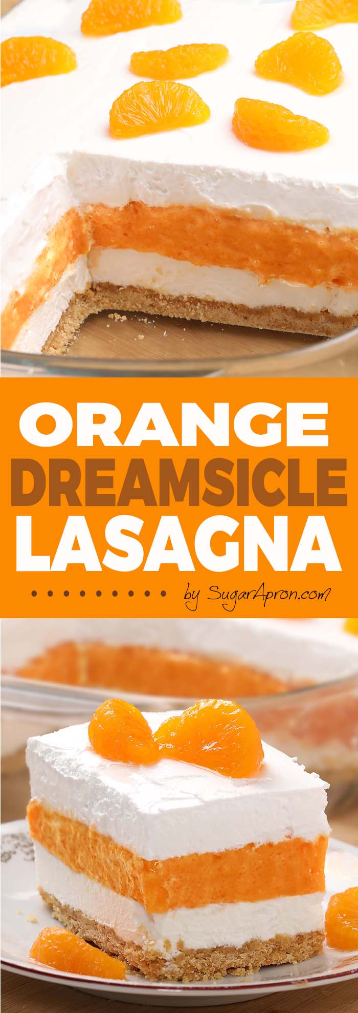 Your favorite childhood ice cream treat becomes a refreshing and creamy potluck dessert. Orange Dreamsicle Lasagna will be the perfect addition to your Easter, Mother's Day menu or any spring/summer gatherings.