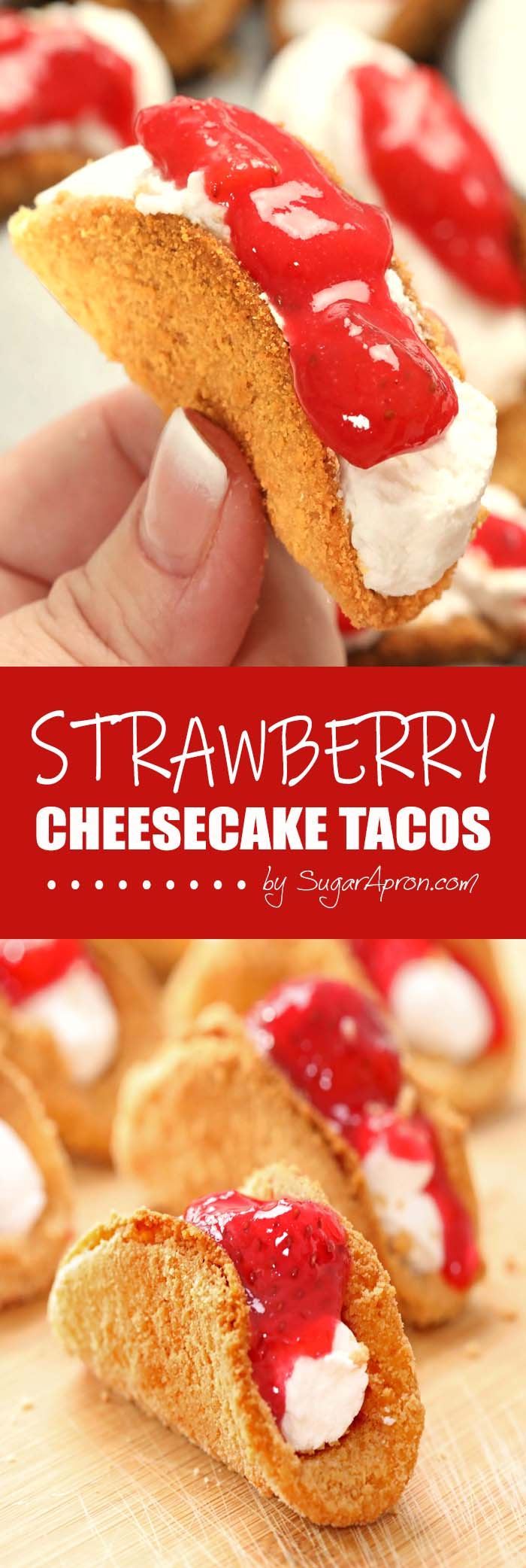 A great dessert idea to make this spring/summer is Strawberry Cheesecake Tacos!They are fun and easy to make and great to serve to a crowd !