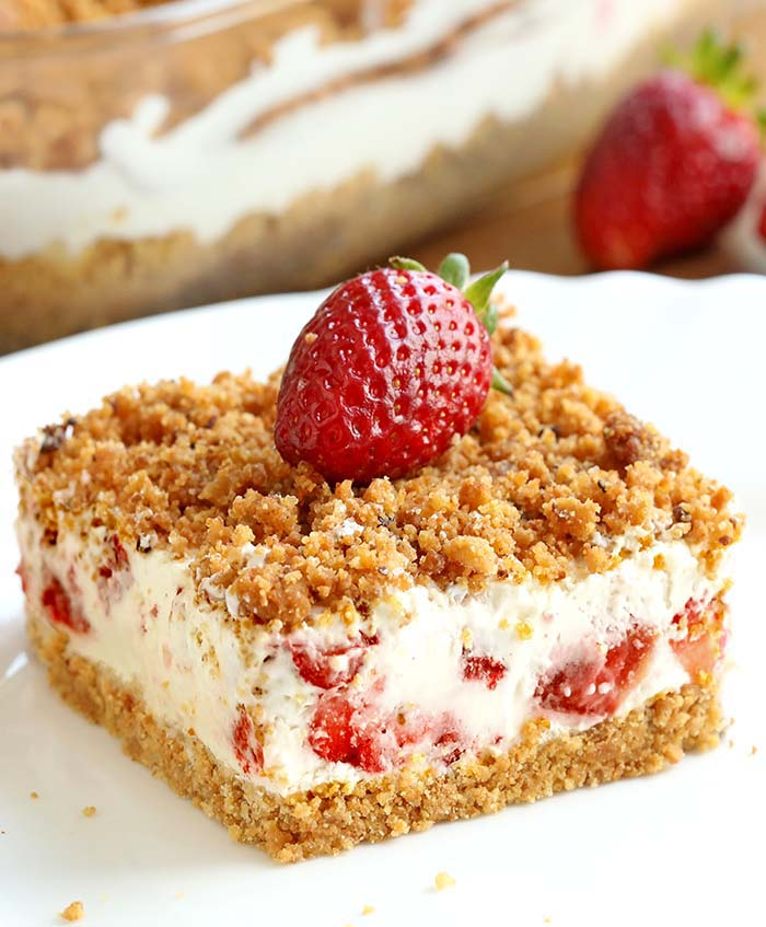 Yummy, creamy, crunchy Strawberries and Cream frozen dessert! This is the perfect summertime refreshing dessert made with fresh strawberries and cream.