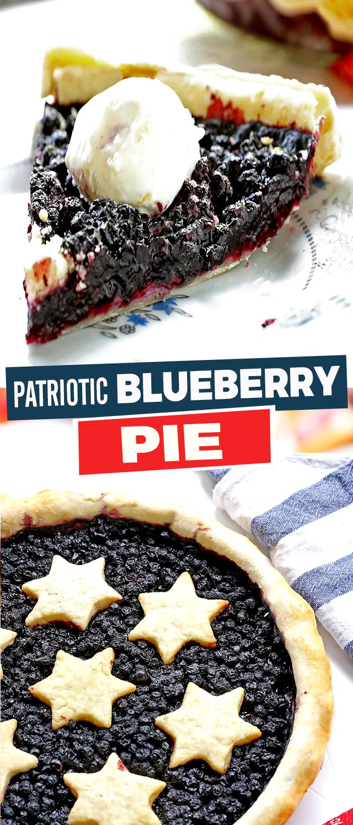 Simple, classic blueberry pie! With a homemade crust and patriotic decorations. Perfect for the summer season, or any of your fun patriotic parties and activities.