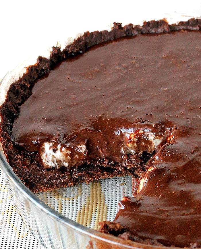 Fudgy, incredibly rich and decadent this Chocolate Fudge Brownie Pie is the BEST Brownie Pie you'll EVER make.