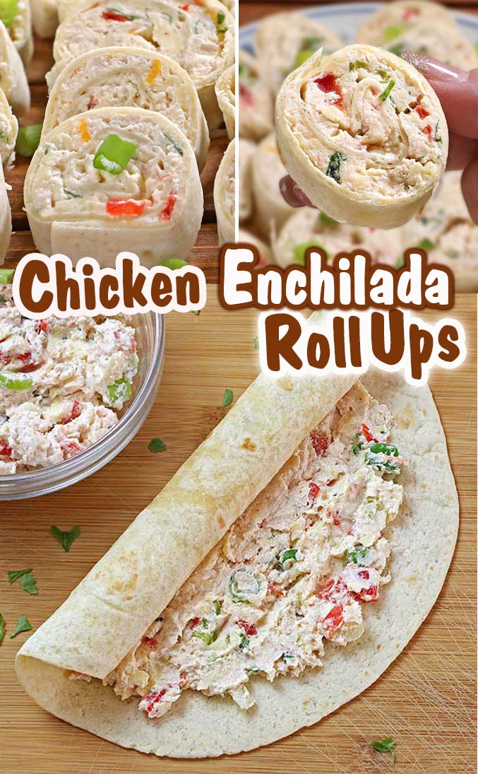 Chicken Enchilada Tortilla Roll Ups.  A great appetizer recipe, easy to make ahead, easy to serve, perfect for game day party !