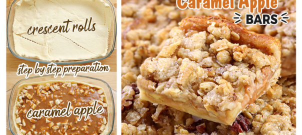 Caramel Apple Pie Bars are the perfect dessert: a Crescent dough crust with tender, warmly spiced, caramel-flavored apples and nutty crumble topping. They're great for Thanksgiving and Christmas and are an excellent alternative to Apple Pie!