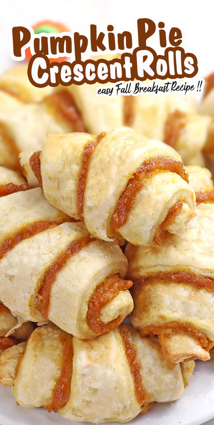 Mini Pumpkin Pie Crescent Rolls is a quick and easy fall recipe and a delicious treat for Thanksgiving or Halloween.